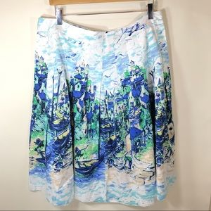 Talbots Pattern Skirt Sea Shore size 16